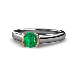 Emerald And Diamond Solitaire Plus Engagement Ring 0.75 Ctw 14k Gold Jp111676