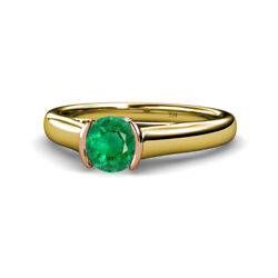Emerald And Diamond Womens Engagement Ring 0.75 Ctw 14k Yellow Gold Jp111677