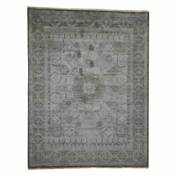 9and039x11and0397 Silk With Textured Wool Mamluk Design Hand-knotted Rug R42017