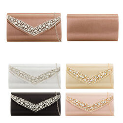 LeahWard Women's Diamante Clutch Bag Evening Handbag Wedding Purses