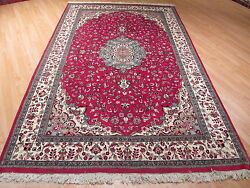 Estate Circa 1970 6x9 Fine Intricate Ivory/red Hand-made-knotted Wool Rug 582246