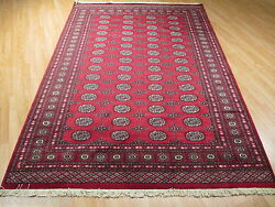 6x9 Red Bokhara Geometric Allover-pattern Hand-made-knotted Wool Rug 582079