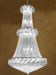 French Empire Crystal Chandelier Lighting - Good For Foyer Entryway H 66 W 36