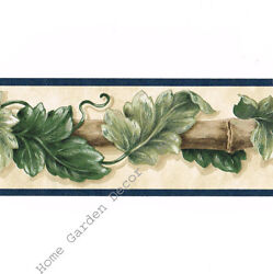 Architectural Victorian Bamboo Ivy Acanthus Leaf Blue On Beige Wallpaper Border