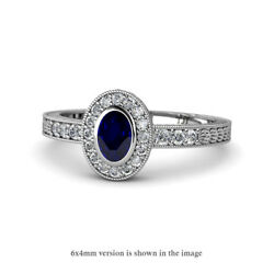 Oval Cut Blue Sapphire And Diamond Engagement Ring 1.41 Ctw 14k Gold Jp145782