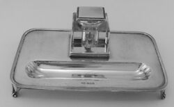 English By J.d.ands Sterling Silver Inkwell And Pen Tray Desk Accessory Set