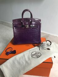 Authentic HERMES AMETHYST Purple Violet Crocodile BIRKIN Bag 25 Silver Hwr