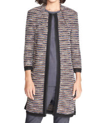New St. John Collection Womenand039s Contrast Trim Tweed Knit Topper 3/4 Size 12