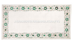 White Marble Dining Table Top Real Malachite Inlaid Floral Work Home Decor H2474