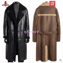 Mens Genuine Leather Warm Fur Lining double-breasted Trench Coat Jacket Overcoat