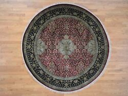 8and039x8and039 New Zealand Wool 300 Kpsi Kishoon Revival Round Hand-knotted Rug R42289