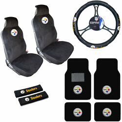 Nfl Pittsburgh Steelers Car Truck Seat Covers Steering Wheel Cover And Floor Mats
