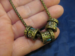 Antiqued Brass Tone Slide Necklace With Blue Purple Green Crystals 18