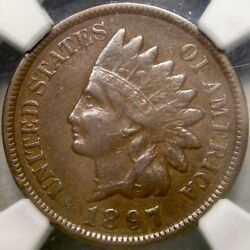 1897 Indian Head Penny Appealin Scarce Snow 1 Ngc Vf 35 Misplaced 1 In The Neck