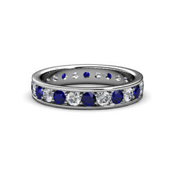 Blue Sapphire And Diamond Eternity Ring Stackable 1.95 Ctw 14k Gold Jp137494