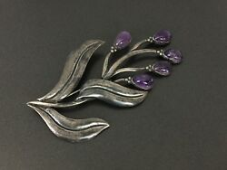 Vintage Large Mexico Sterling Silver 980 Flower Amethyst Pin Brooch