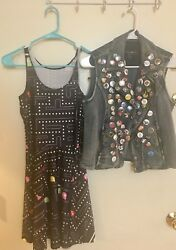 80s costume for women. Pac Man Dress amp; Denim Vest with Retro Buttons