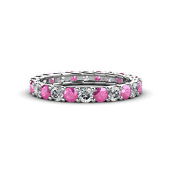 Pink Sapphire And Diamond Eternity Ring Stackable 2.04 Ctw 14k Gold Jp127583