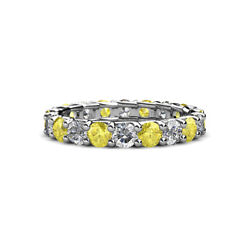 Yellow Sapphire And Diamond Eternity Ring Stackable 2.92 Ctw 14k Gold Jp127653