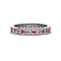 Pink Tourmaline And Diamond Eternity Ring Stackable 1.45 Ctw 14k Gold Jp35506