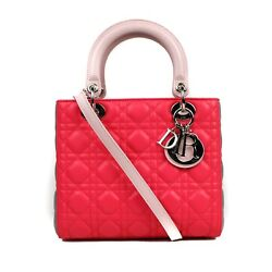 Dior New Pink and Grey Colorblock Medium Lady Cannage Leather Bag Shoulder Strap