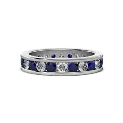 Blue Sapphire And Diamond Eternity Ring Stackable 2.04 Ctw 14k Gold Jp130646