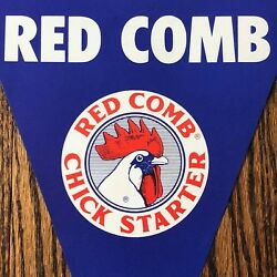 RED COMB CHICK FEED Farm Chicken Advertising Pennant SIGN Vintage Double-sided