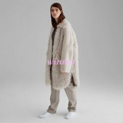 2019 Winter Womens 100% Real Sheepskin wool Fur Warm Thicken Long Trench Coats