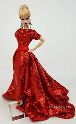 Eaki Handmade Red Evening Dress Outfit Gown Fit Silkstone Fashion Royalty FR $24.99