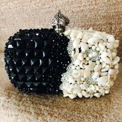 ALEXANDER MCQUEEN black white punk shell embellished silver skull box clutch bag