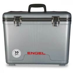 Engel 30 Qt 48 Can Leak Proof Compact Insulated Airtight Drybox Cooler Silver $69.99