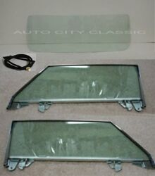 56-62 Corvette Coupe Windshield Assembled Door Glass Green Set With Front Gasket