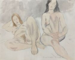 Two Nudes Original Watercolor And Pencil Drawing Raphael Soyer