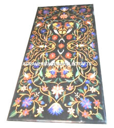Black Marble Dining Center Table Top Art Marquetry Inlay Living Room Decor H2440