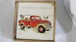 Farm Life Vtg Red Truck Chicken Hay Kitchen SignTowell Hook Home Wall Decor