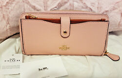 NWT $275 COACH F25967 ACCORDION ZIP ENVELOPE CARD PHONE CASE WALLET CLUTCH BLUSH