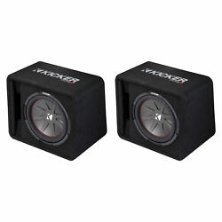 Kicker 12 Inch 1000 Watt 2-Ohm Ported Vented Subwoofer Enclosure Box (2 Pack)
