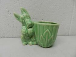 Antique Pottery Scottish Terrier Green Planter or Toothpick Holder