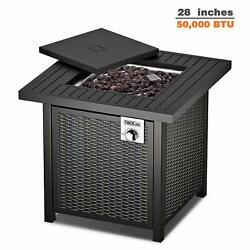 Tacklife Gas Fire Table, 28 Inch 50,000 Btu Auto-ignition Outdoor Propane Gas Fi