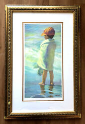 """Lucelle Raad Beach Boy"""" 8/950 Limited Edition Lithograph On Paper Adorable Kid"""