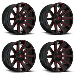 Set 4 20 Fuel Contra D643 Black Candy Red Milled Truck Wheels 20x10 8x180 -18mm