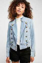 Free People Ferry Denim Jacket Military Double Breasted Western Ob822058