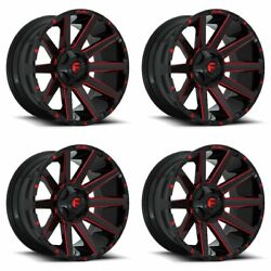 Set 4 22 Fuel Contra D643 Black Candy Red Rims 22x10 8x170 -18mm For Ford Truck