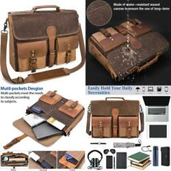 Mens Messenger Bag 15.6 Inch Canvas Leather Laptop Waterproof Briefcase...