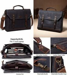 Mens Messenger BagVaschy Genuine Leather Waxed-Canvas Satchel Fits 17 inch...