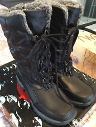 LADIES TOTES THERMOLITE LINED SIDE ZIP LACE FRONT WATERPROOF BLACK BOOTS NEW 7 $32.99