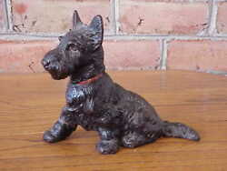 Cast Hubley Scotty Dog Scottish Terrier Book End Doorstop Red Collar