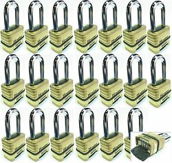 Combination Lock Set Master 1175lh Lot 20 Resettable Long Brass Sealed Carbide