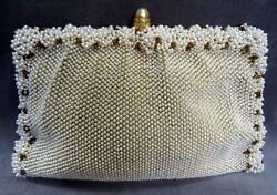 FAB Vintage  KORET Faux Pearls w Gold Bead Accents Evening Bag + Change Purse