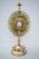 + Vintage 120 Year Old French Hand Embossed Monstrance + 29 Ht. + Cu213